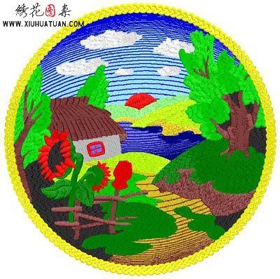 风景类绣花标图片