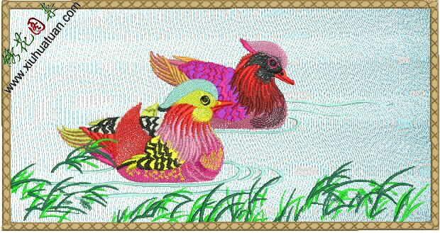 鸳鸯戏水,电脑刺绣,鸳鸯的图案