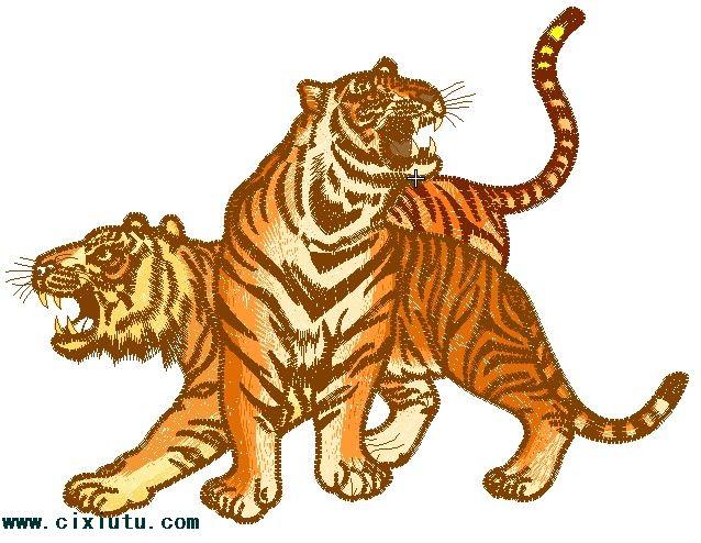 老虎的电脑绣花图片,两只老虎绣花花样