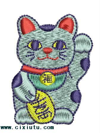 招财猫卡通动物图片_服装刺绣图案 - 绣花图案网; 获得卡通qq头像