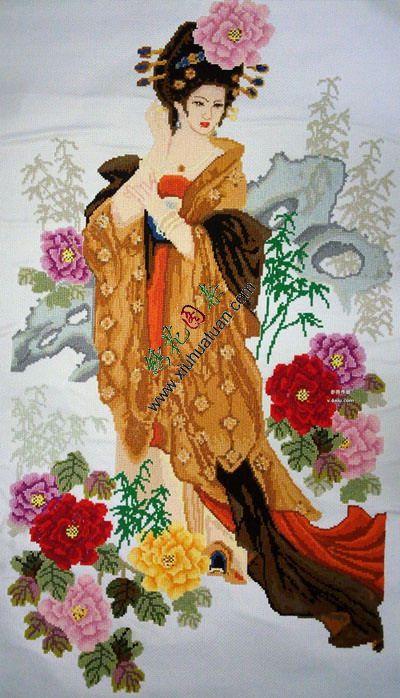 十字绣图案,杨贵妃刺绣图案,电脑绣花图片