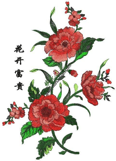 牡丹花刺绣图案,花开富贵电脑绣花图片