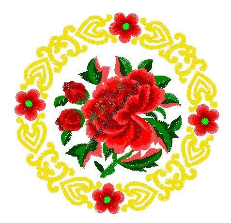 牡丹的绣花图片,花开富贵绣花工艺版
