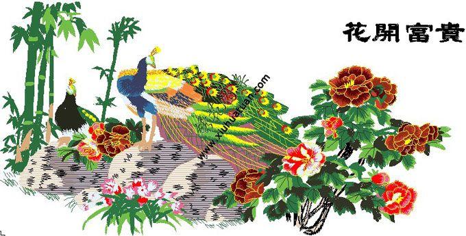 花开富贵 孔雀牡丹花刺绣图案 电脑绣花工艺版图片