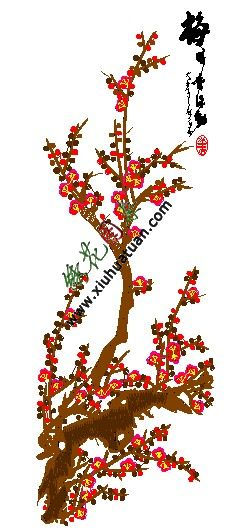 梅花的图案,梅花刺绣图案-绣花图案网