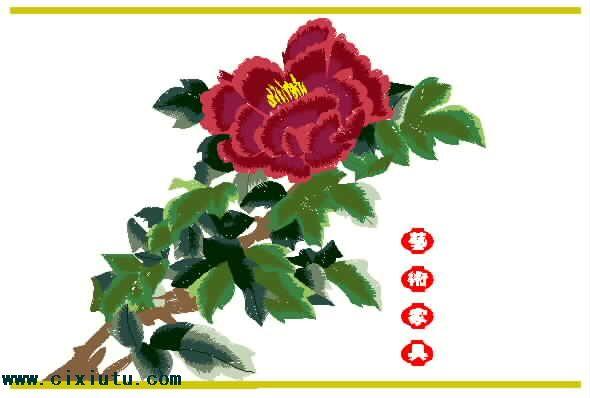 图案 家具/牡丹花绣花图案,工艺家具刺绣花样版