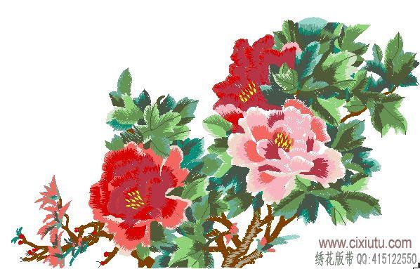 图案 牡丹花/牡丹花电脑绣花机花样带,家具坐垫绣花版。
