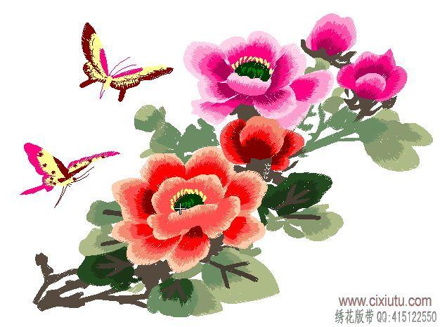 蝴蝶牡丹家具坐垫电脑绣花花样带图片
